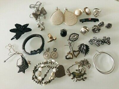 Large lot of old fashion jewellery earrings bangle ring + big bold vintage style