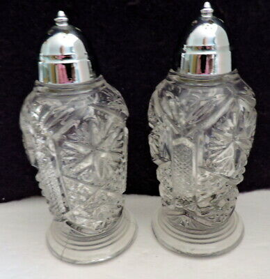 """Cut Crystal Salt & Pepper Shakers Pressed Glass Silver Plate Tops 4 ¾"""" New Never"""