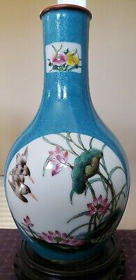 """Antique CHINESE CERAMIC PORCELAIN VASES HAND PAINTED Green &white 9"""" Inches Tall"""