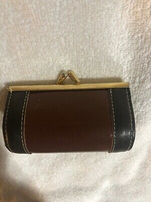 Vintage Elegant And Classic Coin Purse Pure Brown Leather With Brass Drop