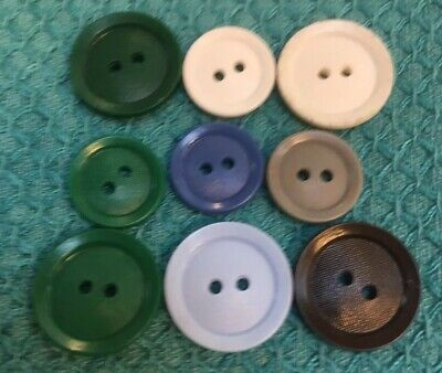 Vtg Colt Plastic Button Dish Variegated Center Lot Of 9 White, Green, Blue, Gray