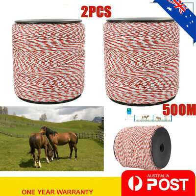 2pcs 500m Roll Polywire for Electric Fence Fencing Kit Stainless Steel Poly Wire