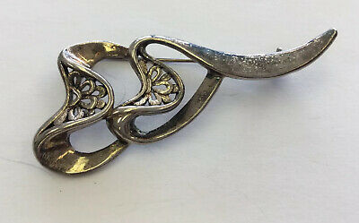 Antique Silver Plated Large & Unique Open Cut Work Pin ST21