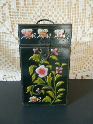 Antique~VTG HandCrafted Wooden Box with Hinged Lid ~carved 2D Hand Painted~RARE