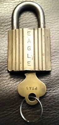 Vintage Antique Eagle Padlock Brass Terryville Old Lock With Key Usa Rare Unique