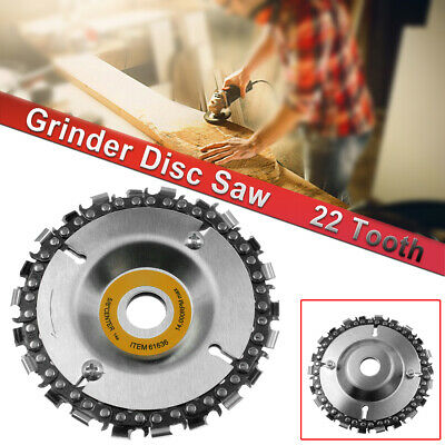 """4/"""" Chain Saw Blade 22 Tooth Wood Grinder Disc Grinding Wheel Carving Angle GW"""