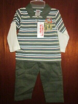24M NEW W//T FISHER-PRICE BOYS 2 PC FLEECE TRAIN PANT OUTFIT 12M 18M 2T