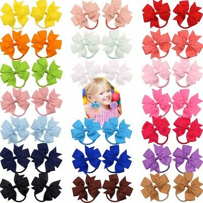 "40pcs 3"" Boutique Hair Bows Tie Baby Girls Kids Rubber Band Ribbon Hair bands"