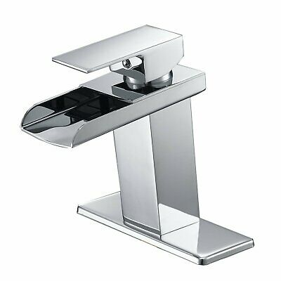 Bathroom Basin Faucet Chrome Waterfall Square Vanity Sink Mixer Tap Deck Mounted