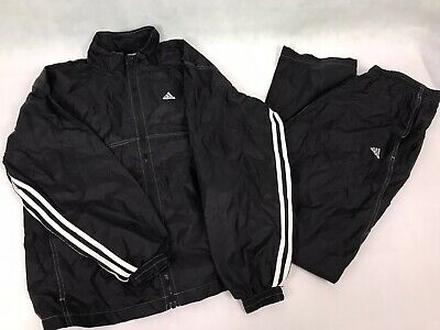 Adidas Track Suit Black Jogger Exercise Jacket and Pants Size Small / Medium