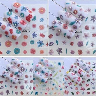 10 Sheets 3D Nail Art Transfer Stickers Flower Decals Manicure DIY Tips Decor