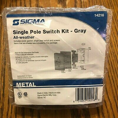 Sigma All Weather Single Pole light switch cover kit color Gray NIP