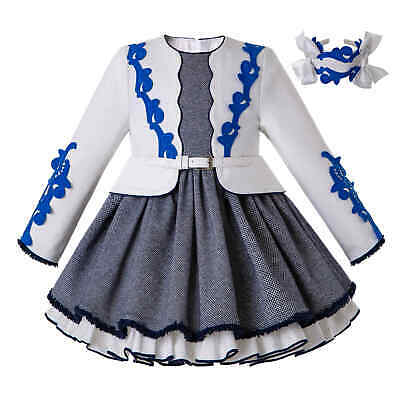 Girls Kid Long Sleeve Jacket Pleated Dress Fake Two-Piece Belted Communion Party