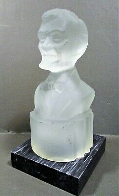 1880'S Gillinder Co American Satin Glass Bust Abraham Lincoln No Chips/Cracks
