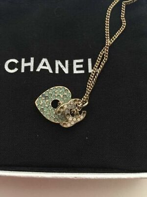 Authentic CHANEL CHAIN NECKLACE White/Light Blue Rhinestone Heart CC Logo Charm