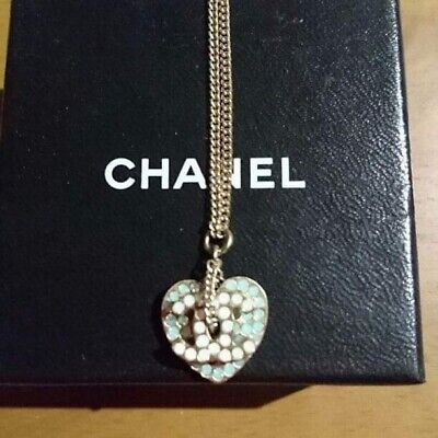 Authentic CHANEL CHAIN NECKLACE White/Light Rhinestone Heart CC Logo Charm