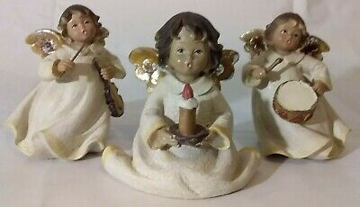 Christmas Angel Statues Ceramic Drum Candle Violin Vintage Hand Painted