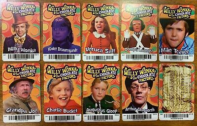 FULL SET Willy Wonka & The Chocolate Factory Card W/Golden Ticket Dave & Busters