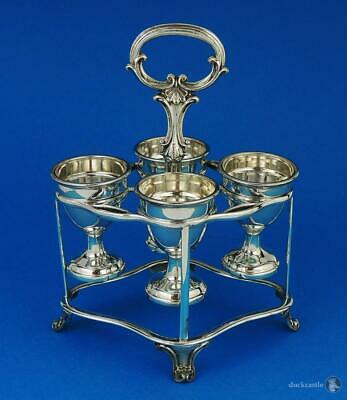 Stylish VICTORIAN SILVER PLATE EGG FRAME With 4 EGG CUPS Mid 19th Century