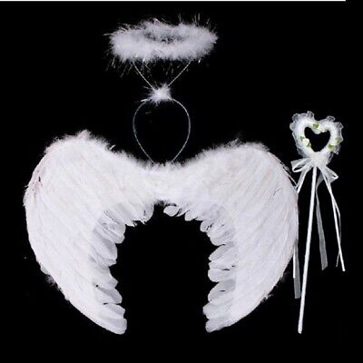3Pcs Feather Angel Fairy Wings Wand Halo Halloween Party Costume Kids Adult UK