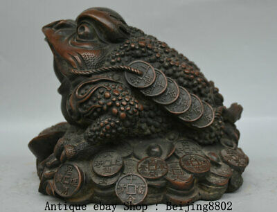 "9.2"" Old China Purple Bronze Feng Shui golden toad Yuanbao Wealth Lucky Statue"