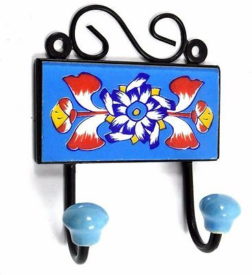 Beautiful Handmad Design Ceramic Tile Wall Hanging Hook Decorative. i75-62 UK