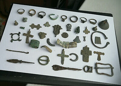 Ancient Viking.Whole and broken crosses, rings, buckles and amulets 5-15 AD