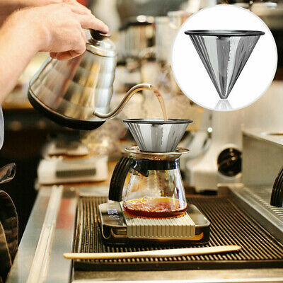 1PC Stainless Steel Pour Over Cone Dripper Reusable Coffee Filter Cup Stand~GQ