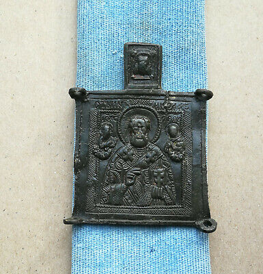 Authentic Medieval Bronze Religious Icon With St Nicholas And Saints Rare