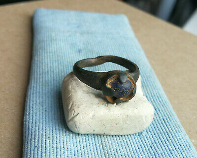 Ancient Viking Old Bronze Ring With Blue Glass Very Rare