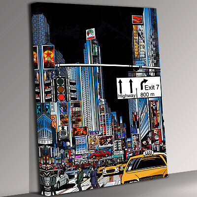 New York Times Square Illustration Canvas Wall Art Picture Print
