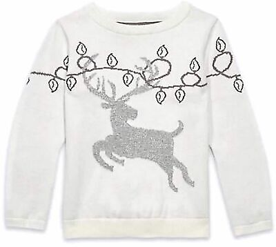M&S Girls Silver Stag JUMPER Pure Cotton CREAM Sparkly Festive Deer WINTER TOP