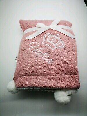 PERSONALISED  CROWN gable pom pom blanket LUXURIOUS HIGH QUALITY