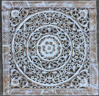 Wood Handcarved Flower Vintage Style Plaque Relief Home Wall Decor Panel Hanging