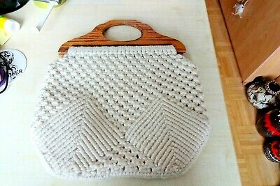 Vintage Knitted Knitting  Sewing Craft Shopping Bag + Wooden Handles Storage