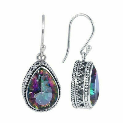 Topaz Rainbow Oval 925 Sterling Silver Hook Drop Dangle Earrings Jewellery Gift