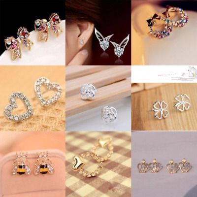 925 Women Sterling Silver Plated Crystal Pearl Hoop/Drop Ear Stud Earrings Jewel