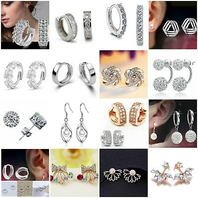 Womens Punk 925 Sterling Silver Plated Crystal Pearl Hoop/Drop Ear Stud Earrings