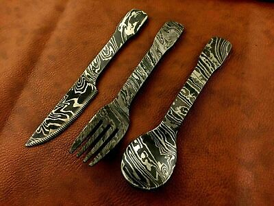 Handmade Damascus Steel Cutlery Set of 3-Unique Ideal Gift