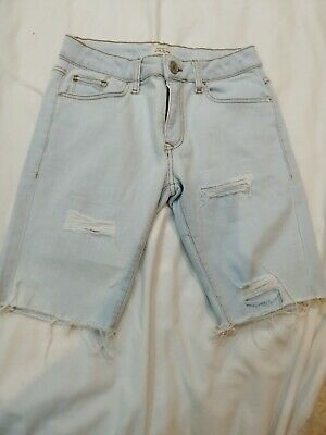 "Mens denim bleached ripped Skinny stretch shorts 28"" waist zip fly River island"
