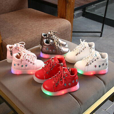 New Arrival Kids Girls LED Shoes Lights Children Baby Snow Boots Cotton Shoes