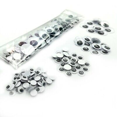 Googly Eyes 100pc Mixed Size Pack 10mm/15mm/20mm Peel & Stick Wiggly Wobbly Eyes
