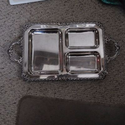 Wonderful Vintage Silver On Copper Footed Serving Tray With 3 Division's