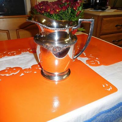 Wonderful Antique Silver Plated On Copper Water Pitcher With Engravings