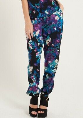 Girls on Film Blue Floral Printed Trousers Size 8/XS RRP £28