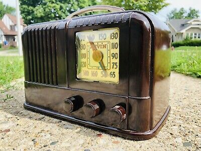 Antique Old Mid Century Swirl Bakelite 1946 Arvin 664 Art Deco Vintage Radio