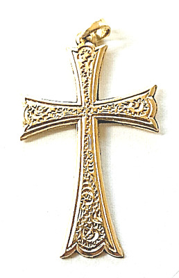 14K GOLD CROSS~Ancient Designs of CHRISTIAN Maltese/Templar Knights~w/Bale(3.2g)