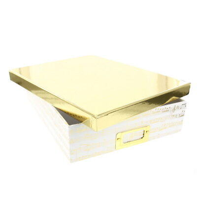 """American Crafts DCWV 8.5""""x11"""" Music Note Design Document Box Gold Foil Accents"""