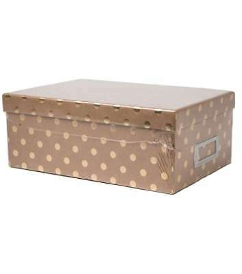 American Crafts DCWV Photo Storage Box with Book Plate - Kraft with Gold Dots, S