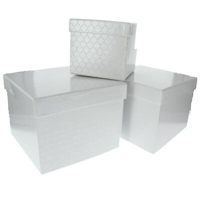 American Crafts DCWV Nested Box Set Scrapbooking Material Storage Holder - White